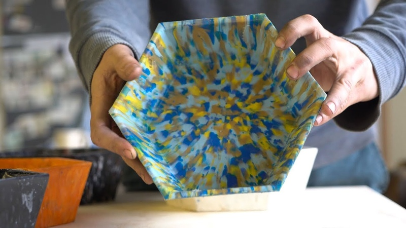 A lasercutted mould to make bowls from preciousplastic