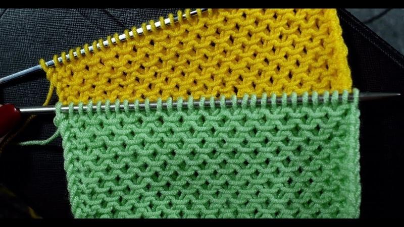 Узоры спицами Простой рельефный узор со снятыми петлями