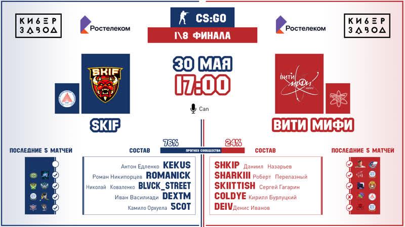 CS:GO | Skif - ВИТИ МИФИ | 1\8 финала