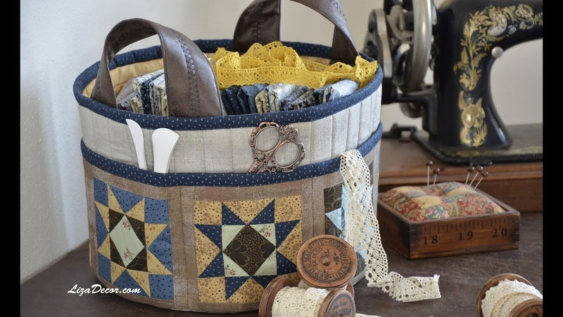 Patchwork Sewing basket Flying Geese Corner Tutorial LizaDecor