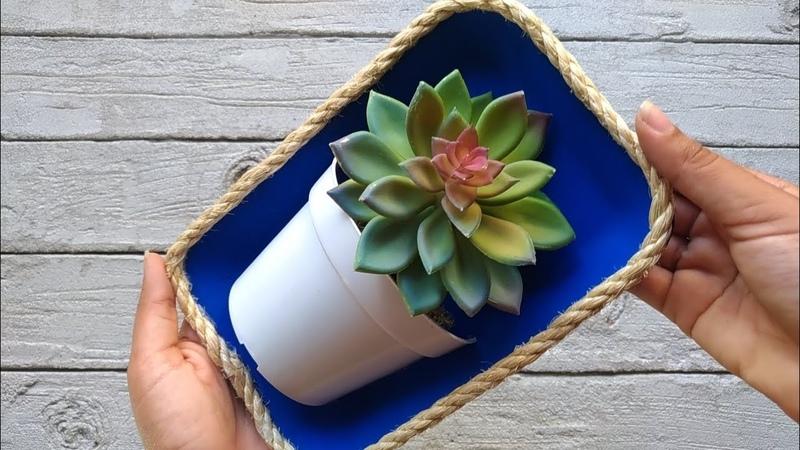 Ideia linda com bandeja de isopor DIY reciclagem decora o artesanato