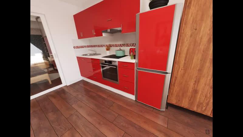 1 к квартира в Париже 49 4 м² Кухни гостиной Панорама 360°