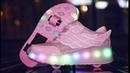 Детские светящиеся кроссовки с двумя колесами купить на Алиэкспресс