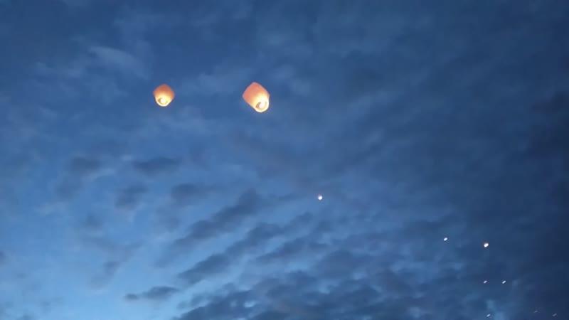 Жители прифронтовой зоны присоединились к запуску небесных фонариков в память о детях погибших в результате агрессии Киева