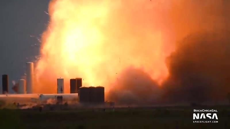 Взрыв прототипа ракеты-носителя Starship