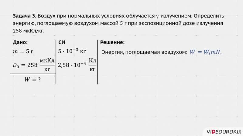35 Поглощенная доза излучения Основы дозиметрии Разбор задачи 3