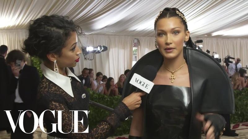 Bella Hadid on Her 10 Pound Sewn In Veil Met Gala 2018 With Liza Koshy Vogue