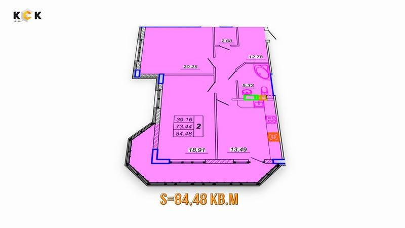 ЖК НАУМОВА 7. Планировка 2-комнатной квартиры S=84,48 кв.м