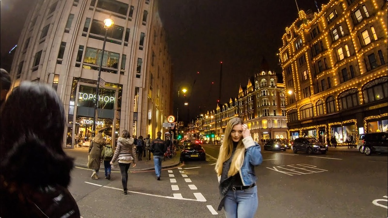 Walking in London South Kensington to Knightsbridge Station at Night 4K Binaural