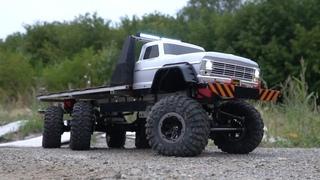 Обзор.  Самодельный полноприводный грузовик 6х6х6  Все колеса поворачивают 6WD offroad Тест-драйв RC