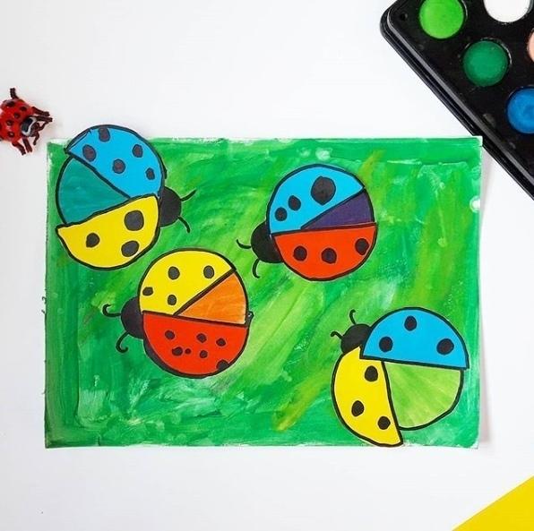 РАЗВИВАЮЩИЕ ИГРЫ СВОИМИ РУКАМИ Сегодня делали наглядное пособие того, как из 3-х основных цветов (желтый, красный, синий), путем их смешивания, можно получить все остальные. Крылья божих коровок