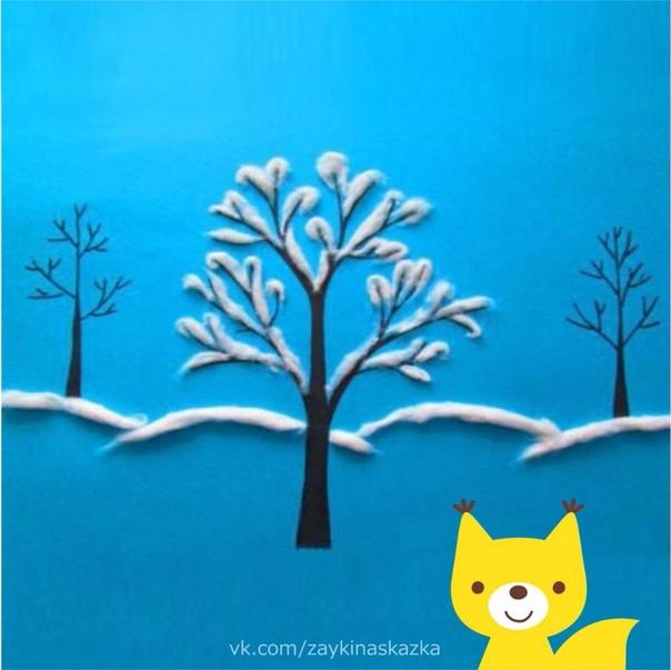 ЗИМУШКА-ЗИМА Аппликация из ваты Аппликация интереснейший вид творчества, особенно для детей, которые любят создавать детские поделки своими руками. А так как за окном зима, то и аппликация