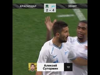 2-4 Алексей Сутормин 72' Краснодар - Зенит