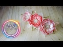 Цветы из атласной ленты на заколке канзаши МК Flores de fitas de cetim em um gancho de cabelo