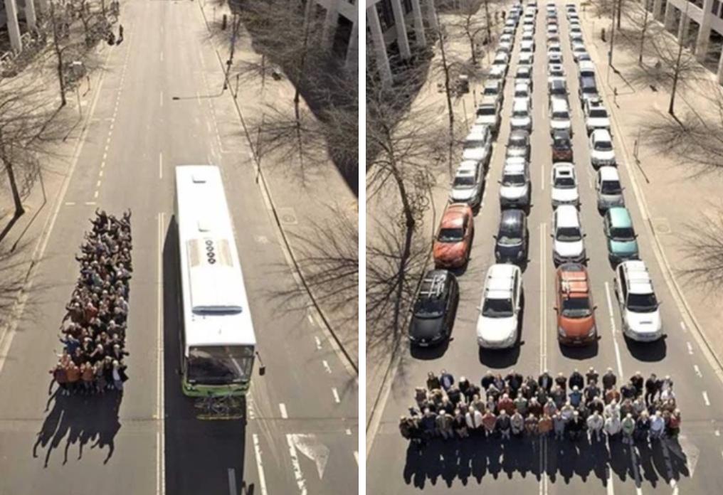 Преимущество общественного транспорта. Наглядно.