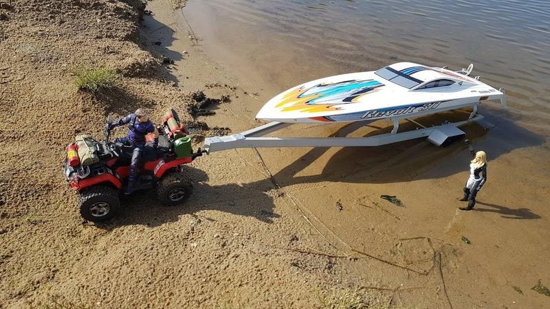 Как спустить катер на квадроцикле Scale RC boat