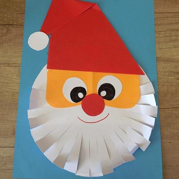 Новогодняя аппликация: «Дед Мороз/Санта». Такой забавной аппликацией можно украсить новогоднюю открытку. Подробный мастер класс см. на