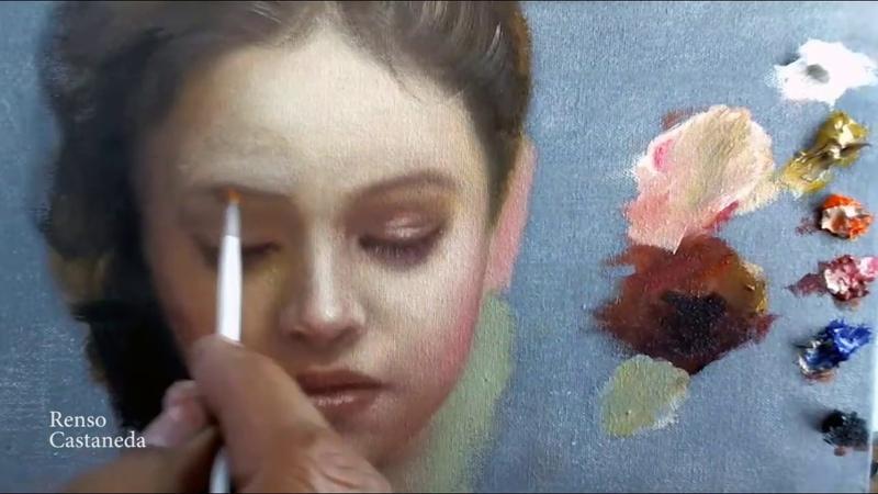 Pintando retrato alla prima paleta de colores primarios
