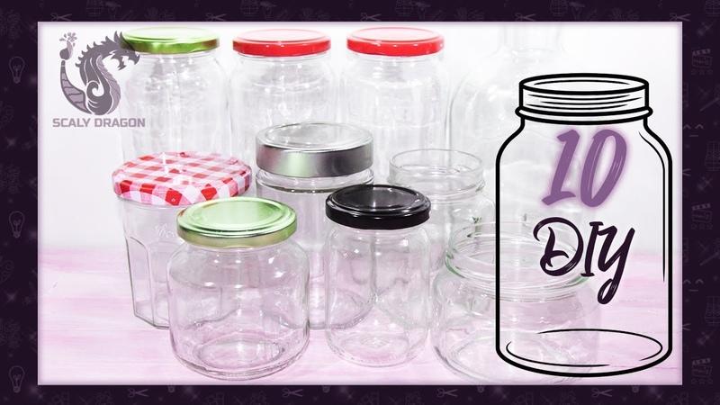 10 IDEAS para DECORAR y reutilizar FRASCOS de vidrio RECICLAJE Creativo