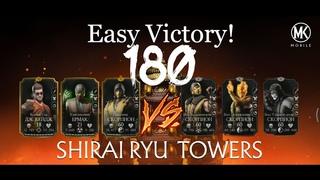 Mortal Kombat Mobile Shirai Ryu (FATAL) Tower Boss 180/Как пройти слабым отрядом 180 бой !