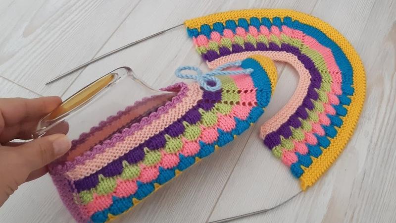 Balon Desen İki Şiş Dikişsiz Kolay Patik Yapımı Bubble Knit Pattern Very Easy Slippers