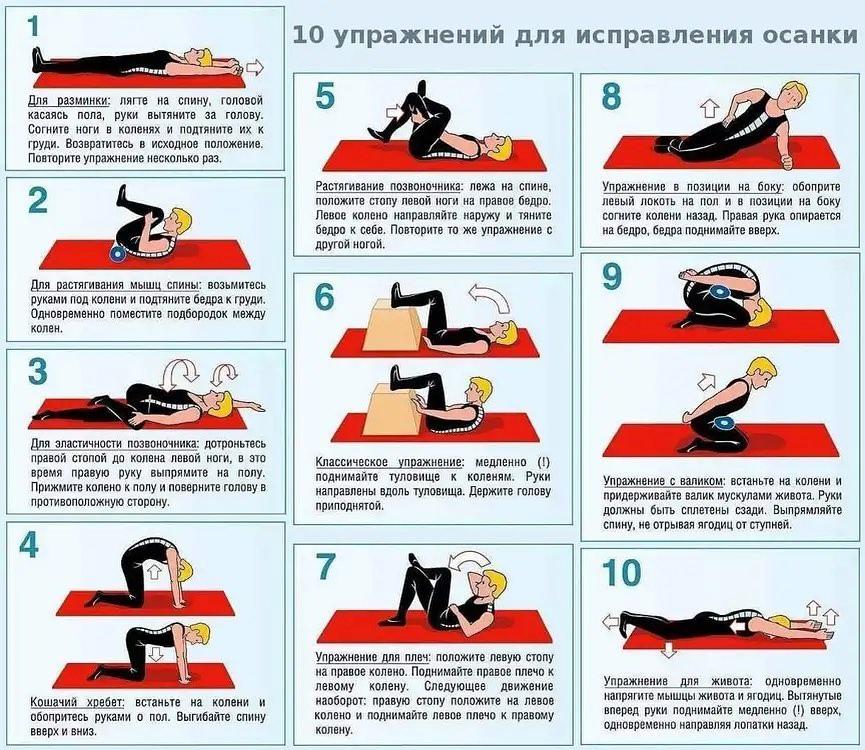 10 упражнений для исправления осанки  Сохраняем правильную и красивую осанку