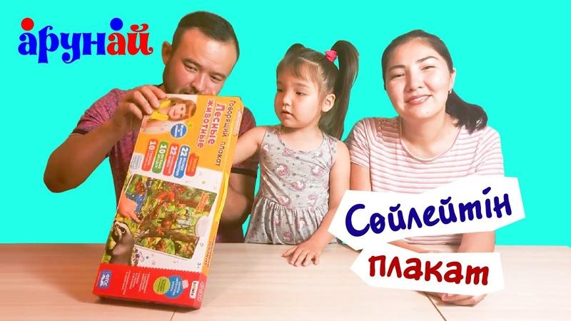 Аруна Сөйлейтін плакат орысша ойыншығымен ойнады Орман жануарлардың дауыстарымен танысты