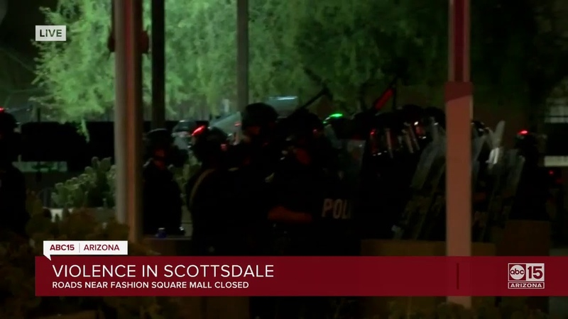 Protesters surround mall in Scottsdale property damage reported