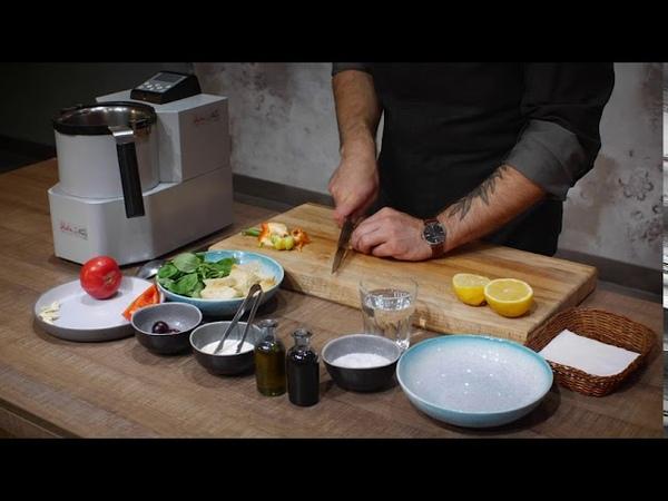 Холодный томатный суп Гаспачо с маринованными креветками и черешней 12