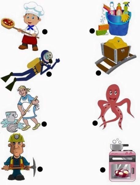 Дидактическая игра для детей Кому что нужно для работы Цель игры:-познакомить детей с представителями разных профессий: милиционер, повар, врач, художник, пожарный, воспитатель, учитель,