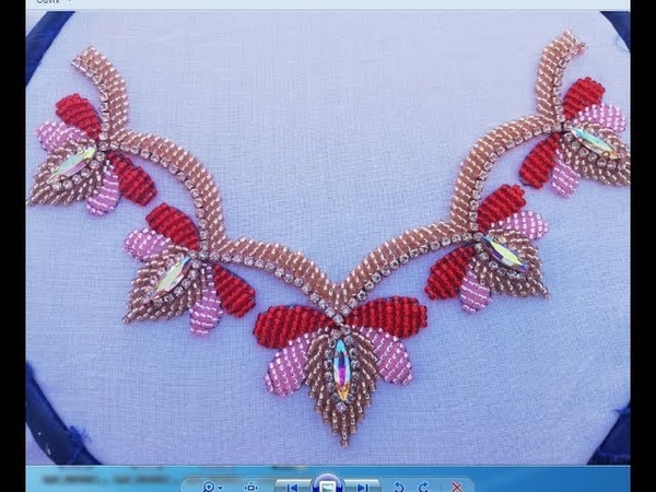 Modern hand embroidery design with bead and stone chain (beads work)