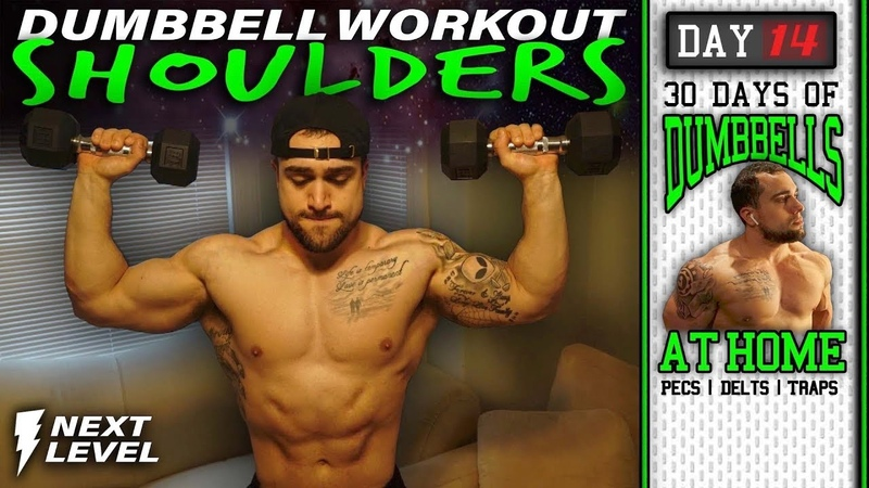 Shoulder Home Workout With Dumbbells 30 Days to Build Pecs Delts Trap Muscles Dumbbells Only