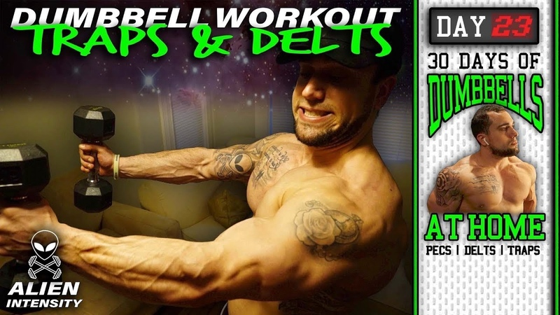 Home Dumbbell Shoulder Trap Workout 30 Days to Build Pecs Delts Trap Muscles Dumbbells Only