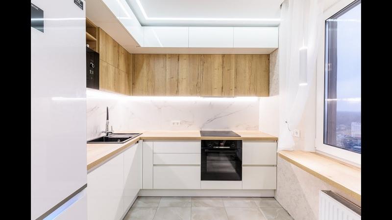 Белая кухня из акрила и ЛДСП EGGER Project 105
