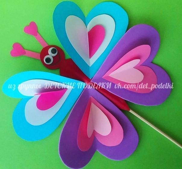 Бабочка на палочке Можно сделать на палочке и украсить цветок в горшке или в виде аппликации на картоне.
