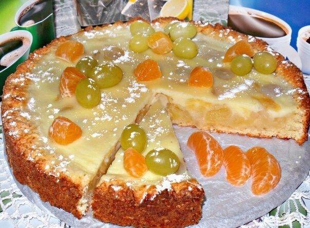 Самый лучший Заливной, творожно яблочно-виноградный пирог
